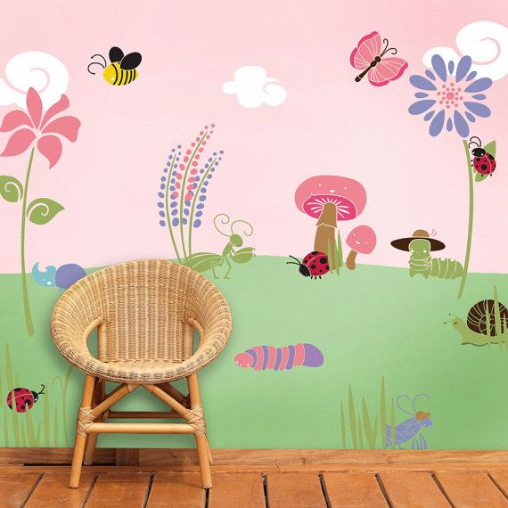 quarto bebe tema jardim:Flower Wall Stencils for Girls Rooms